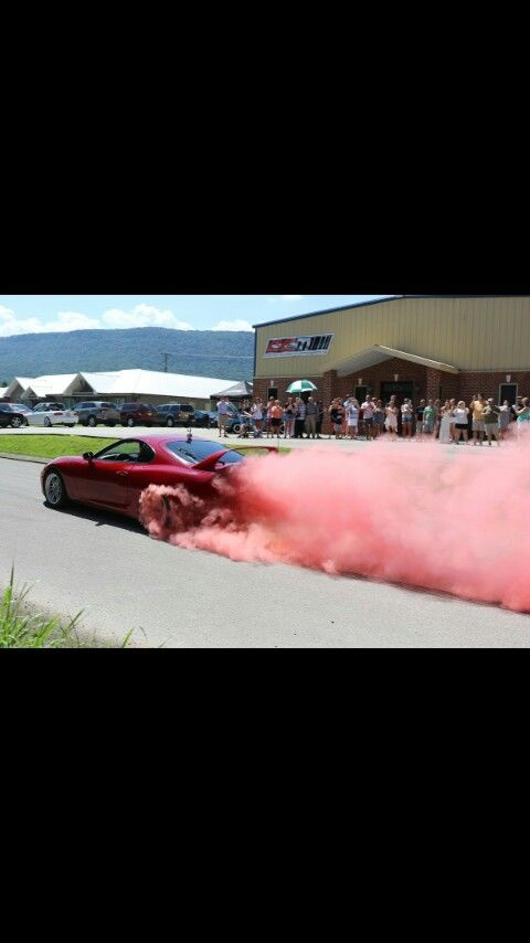 gender reveal with truck car exhaust