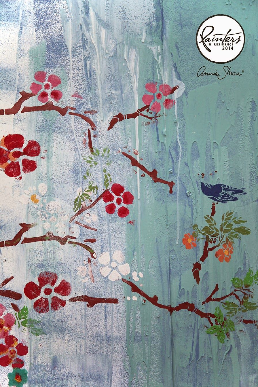 A chinoiserie-inspired wall by Annie Sloan's Painter in Residence, Janice Issitt. Wall and cherry blossom painted in Chalk Paint® by Annie Sloan.