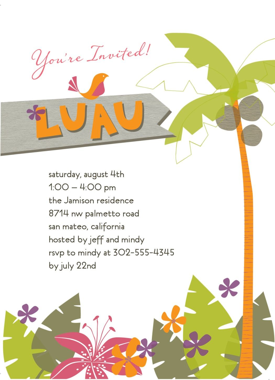 Tropical Invitation | Luau | Pinterest | Luau, Luau party and Luau ...