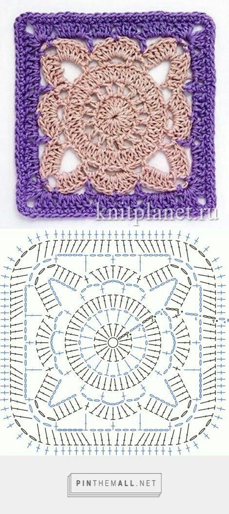 Moduli quadrati a uncinetto: tutti con schema grafico | Cuadrados ...