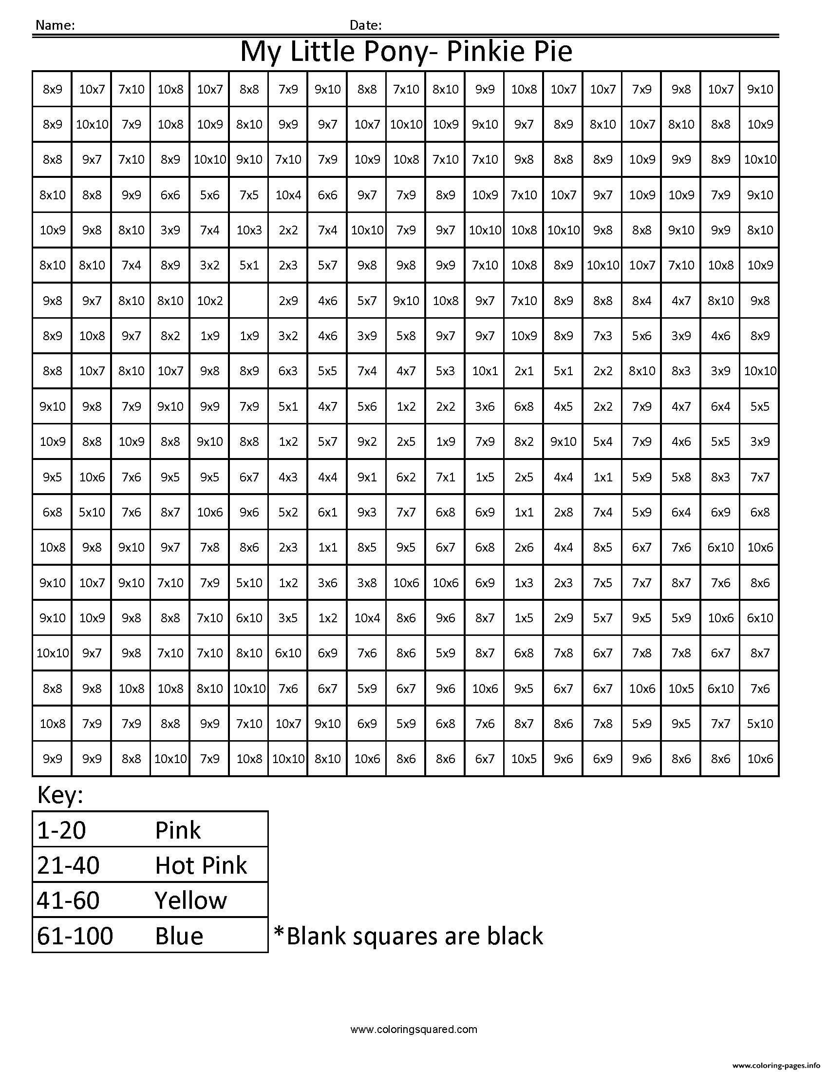 Print My Little Pony Cartoon Worksheet Multiplication Pixel Art