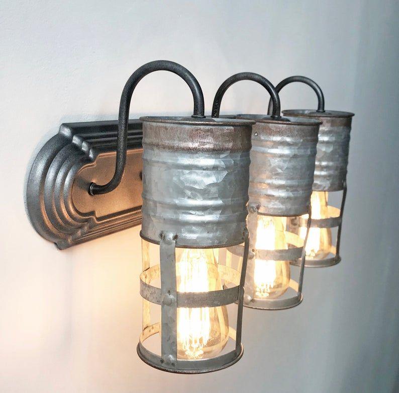 Galvanized Farmhouse Barn Wall Light Vanity Trio
