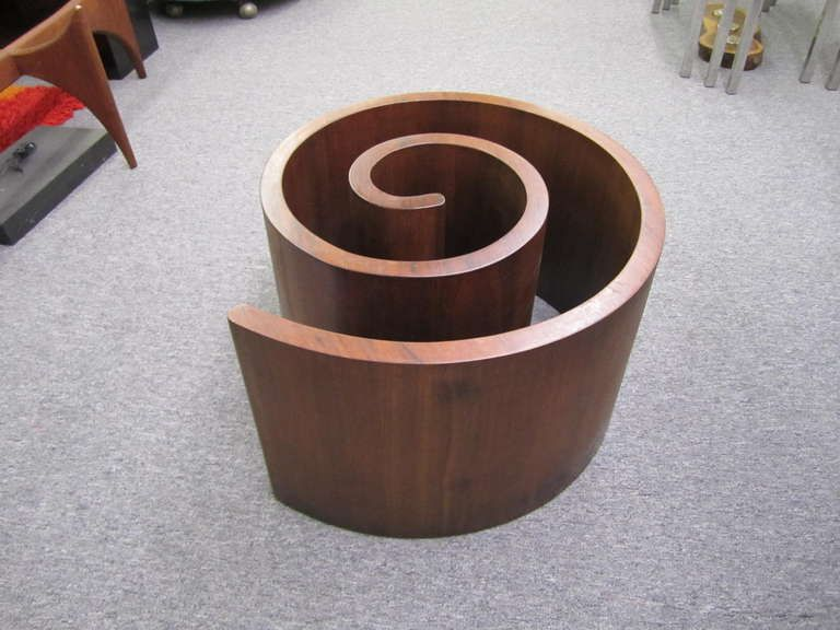 Gorgeous Vladimir Kagan Snail Walnut Coffee Table Mid-Century Modern | From a unique collection of antique and modern coffee and cocktail tables at https://www.1stdibs.com/furniture/tables/coffee-tables-cocktail-tables/