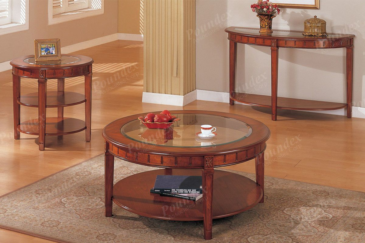 Poundex Coffee Table F6128description The 3 Piece Set Features Cl Tabletops Framed In A Medium Oak Veneer Finish With Lower Panel Shelf