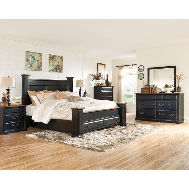 With the rustic beauty of the painted black finish - Ashley furniture black bedroom set ...