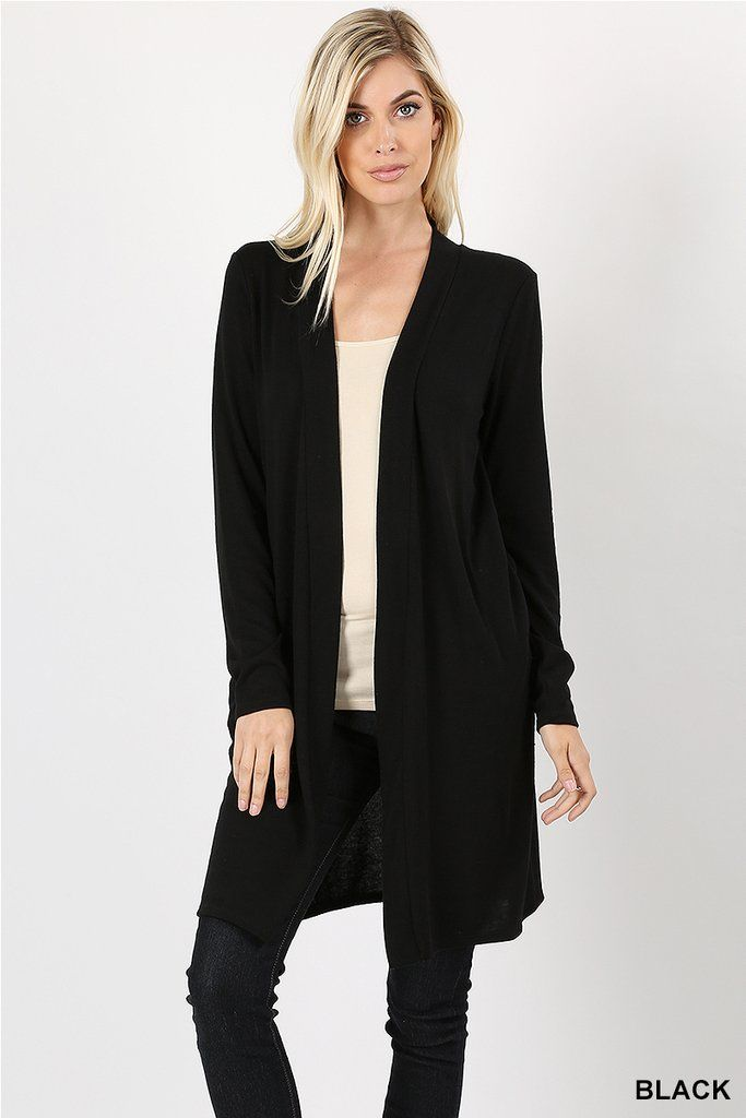 543ae15bcdb1 Open Front Long Line Cardigan with Side Pockets In Black