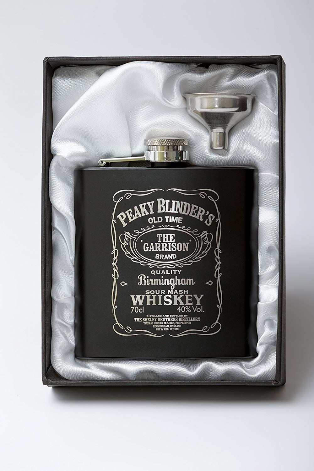 edb0d647 Peaky Blinders Jack Daniel's Style 6oz Black Stainless Steel Hip Flask  Perfect For Stag Parties &