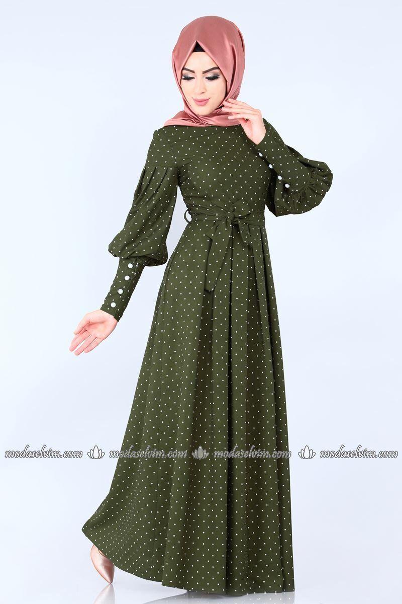 Puantiyeli Pileli Elbise 8962w153 Haki Moda Selvim Elbise Islami Giyim Kiyafet
