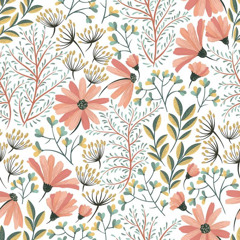 Pink Soft Flowers Wallpaper Self Adhesive Wallpaper Wall Etsy Floral Wallpaper Flower Wallpaper Temporary Wallpaper