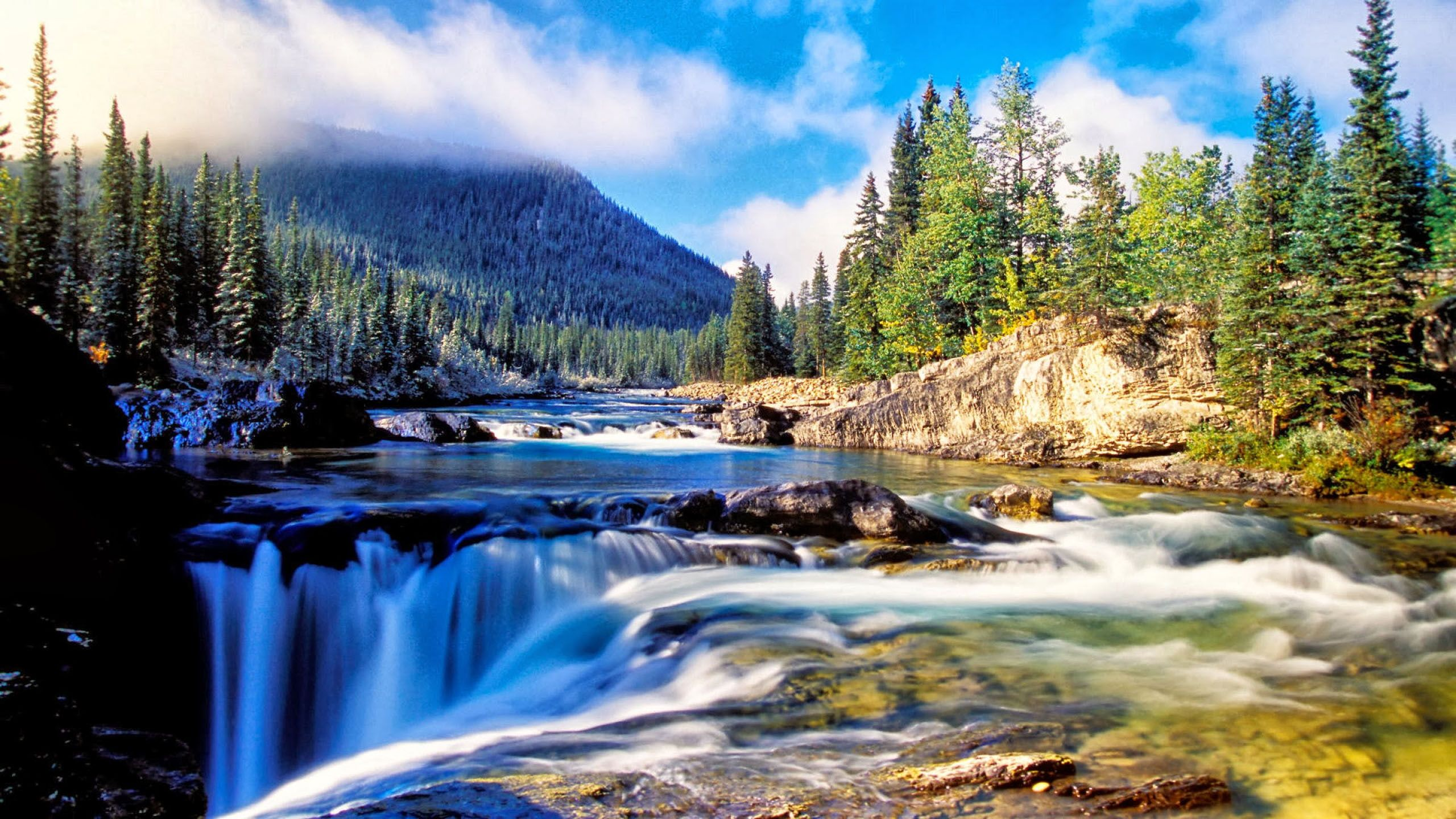 Nature Mountain Dense Spruce Forest River Rock Waterfall Background 2k Wallpaper Hdw In 2020 Waterfall Wallpaper Beautiful Landscape Wallpaper Beautiful Landscapes