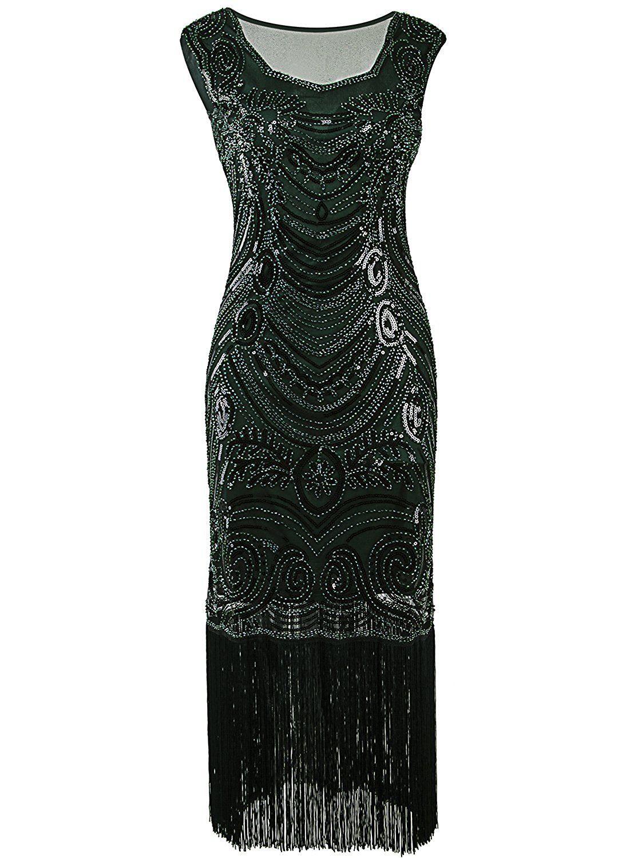 Amazon vijiv long prom s vintage fringe sequin art nouveau