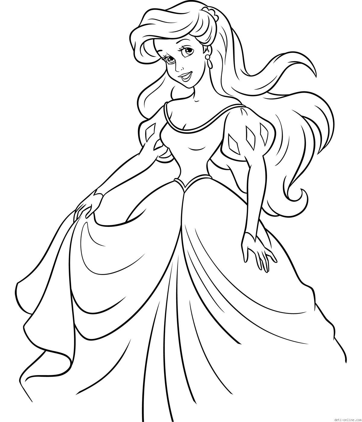 Ariel In The Dress Coloring Page Disney Princesses Mermaid