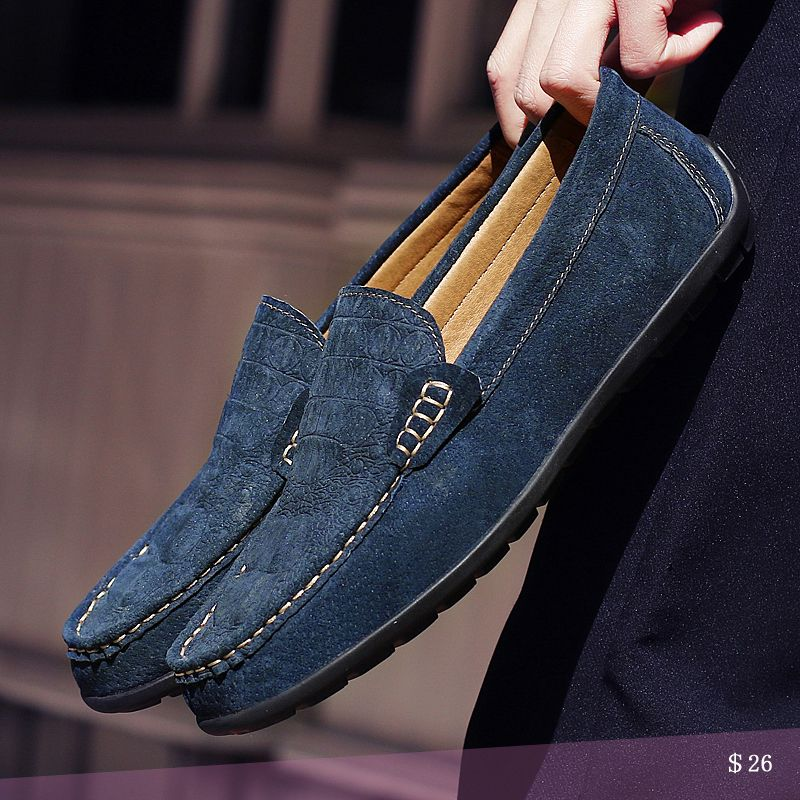 Us 26 Luxury Suede Crocodile Men Loafers Slip On Gentlemen Moccasins Soft Flat Driving Loafers Boat Shoes Loafers Men Mens Suede Loafers Shoes Mens