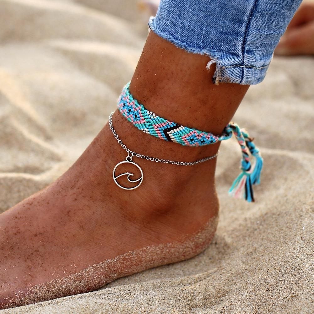 Rune Wave Blue Braided Anklet #rosaryjewelry