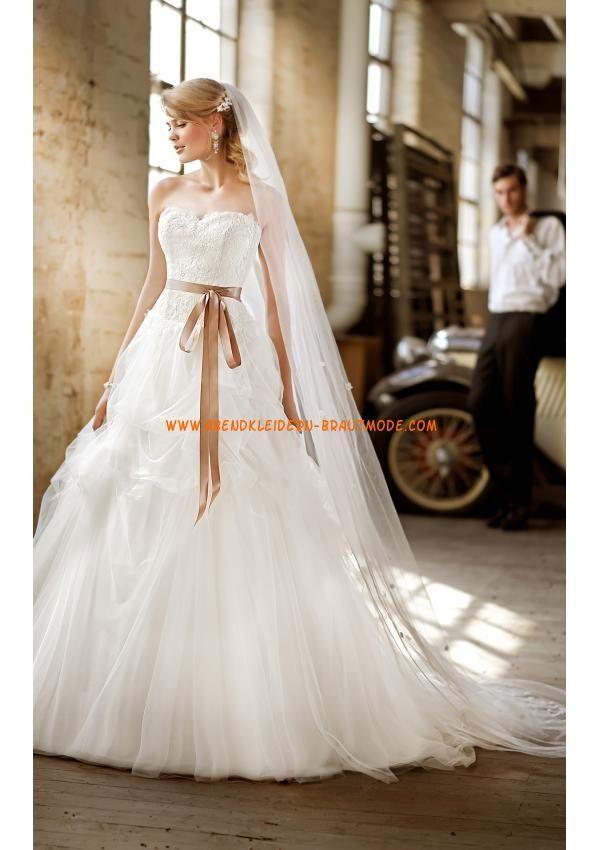 2013 Luxuriöse Brautmode romantisch aus Satin und Tüll Ballkleid mit Schleppe
