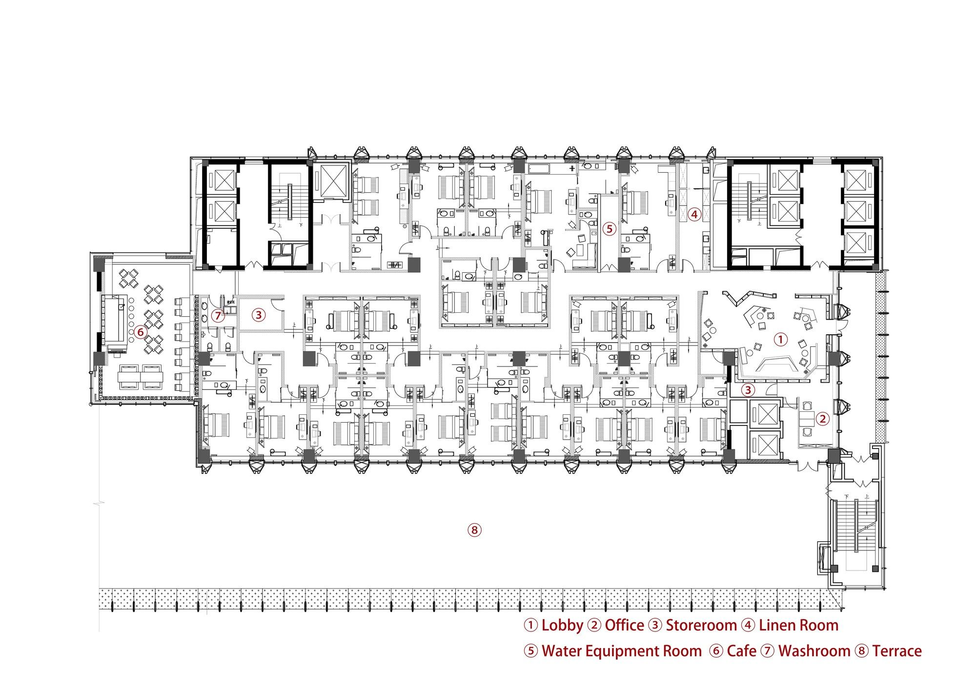 Gallery Of Wheat Youth Arts Hotel X Living 27 Hotel Floor Plan How To Plan