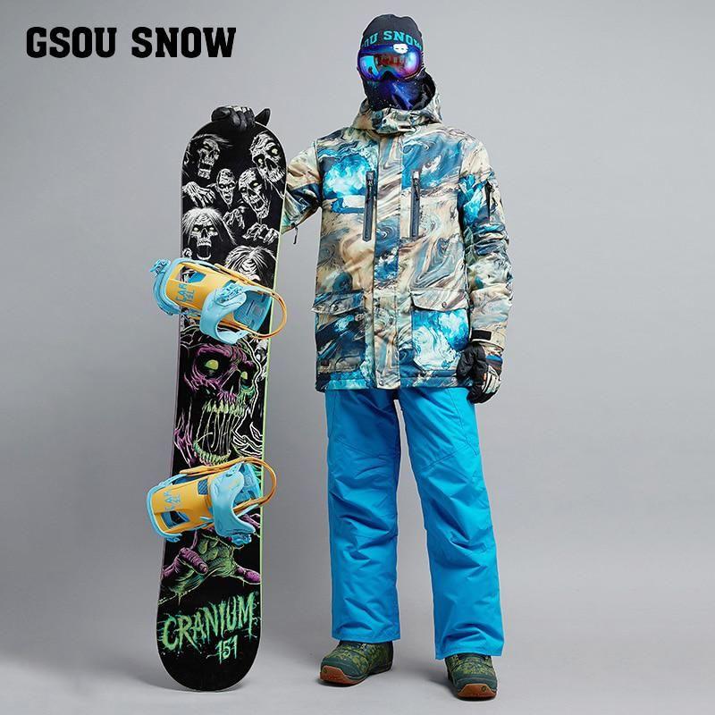2018 GSOU SNOW Men Ski Suit Snowboard Suit Windproof Waterproof Outdoor  Sport Wear Skiing Jacket Pant Super Warm Male Suit Set. 57f111707