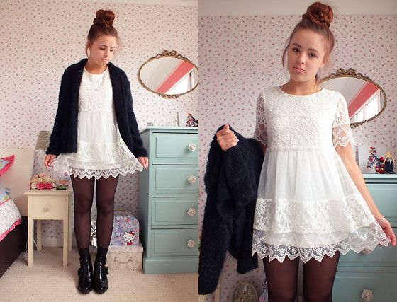 Matalan White Lace Dress, Matalan Black Fluffy Cardigan, Boohoo ...