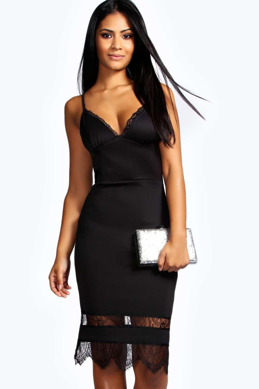 Asos Lace Insert Bodycon Midi Dress in Black - Save 17% | Lyst