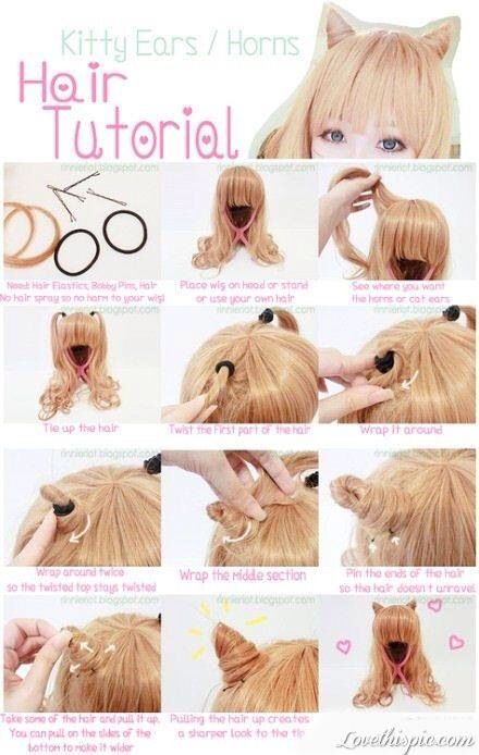 Cat Ears Easy Steps Using Wig Or Hair Kawaii Hairstyles Hair Styles Crazy Hair
