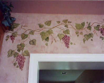 Mural Projects Handpainted Textured Vines Grape Painting Wall