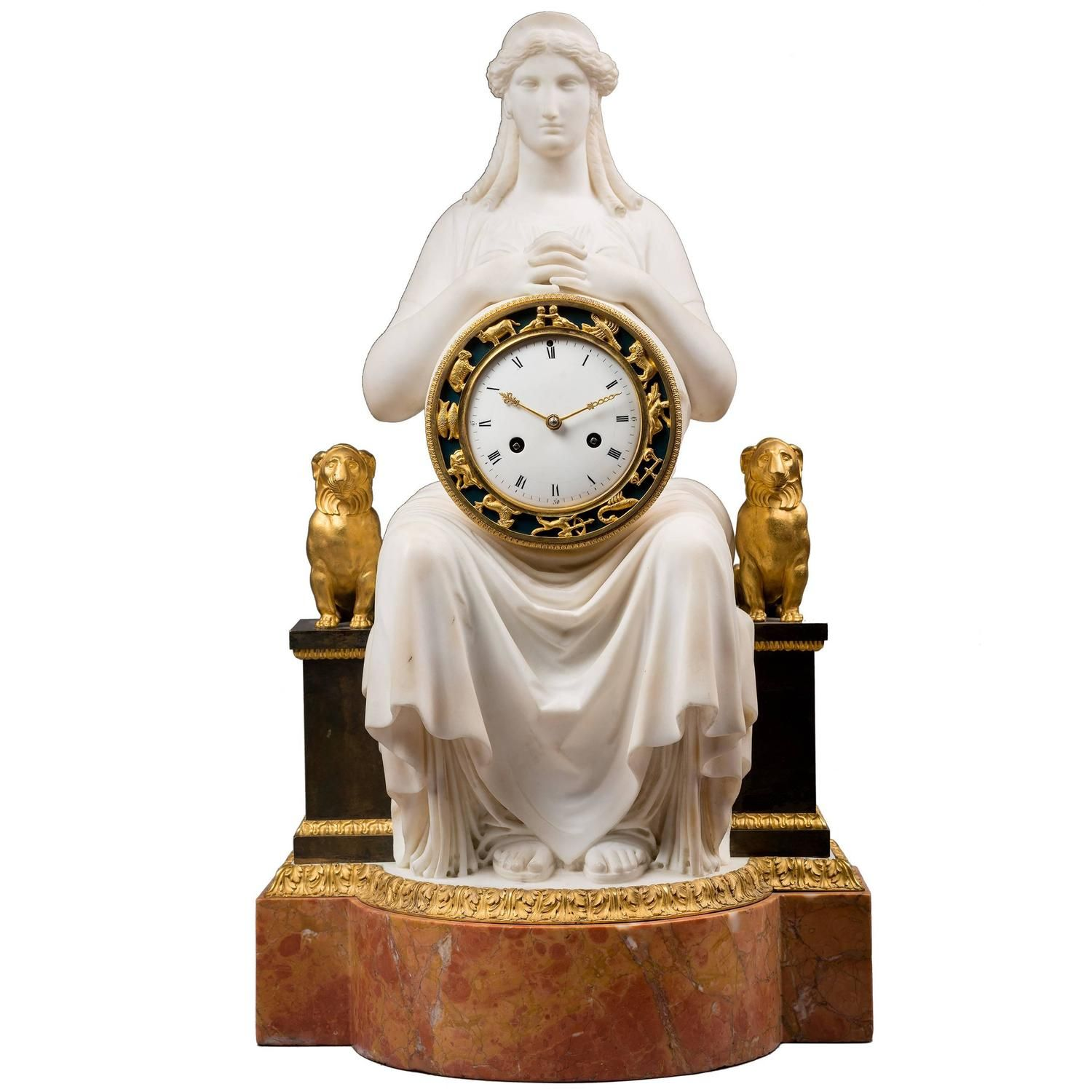 White Marble Empire Clock Urania Attributed To Sculptor Francois Masson 1stdibs Com Vintage Mantel Clocks Mantel Clock Antique Wall Clocks