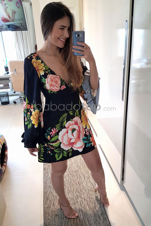 8577f7f53 VESTIDO CURTO FLOR POR FLOR - PRETO - BabadoTop | moda em 2019 ...