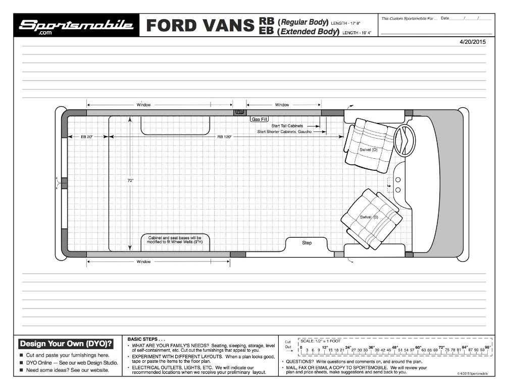 Photo of Dimensions for Popular Vans in Blueprint Style