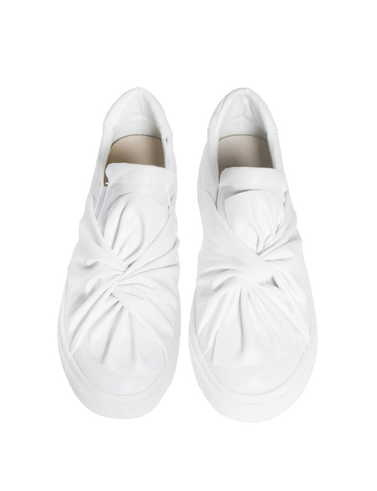 White Leather Bow Tie Sneakers