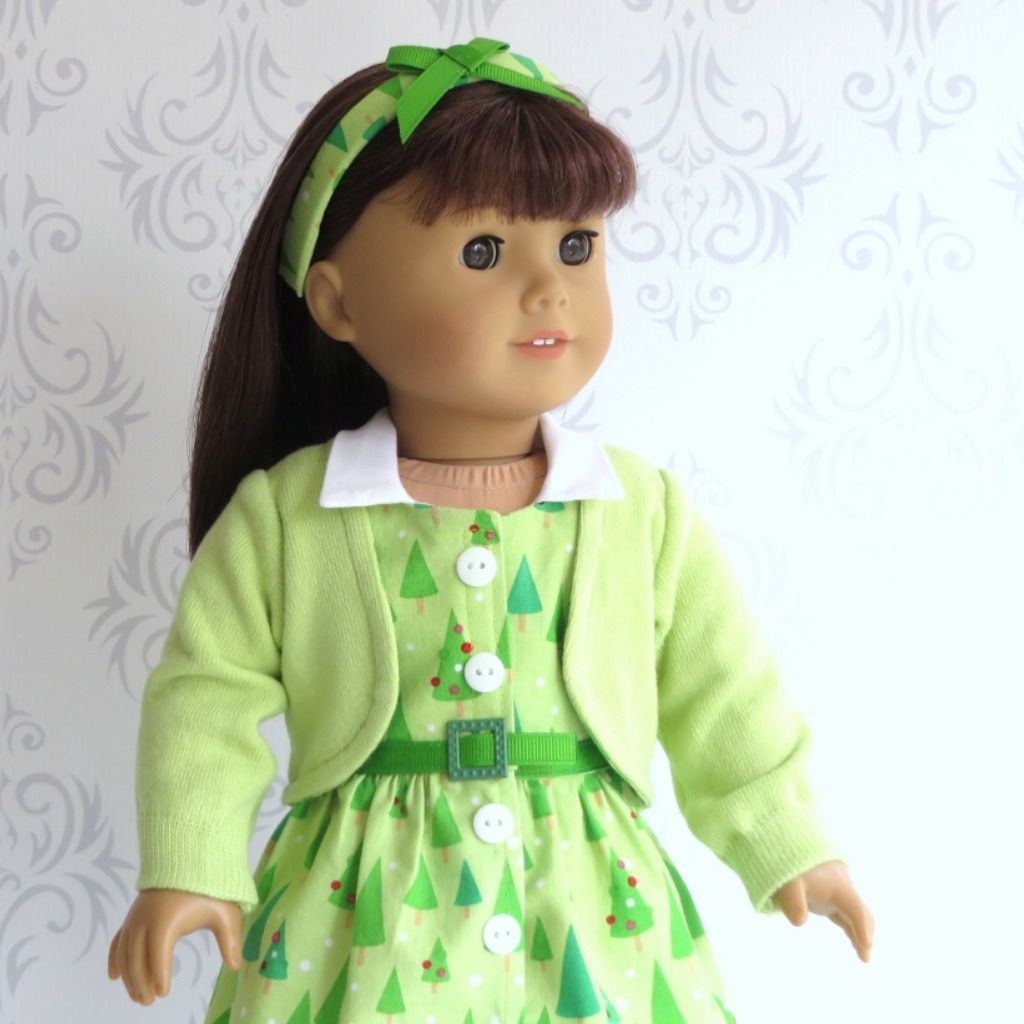 18 inch Doll 50's Christmas Dress with Sweater & Headband #historicaldollclothes