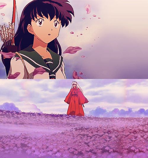 Kagome And InuYasha On A Flowery Hill