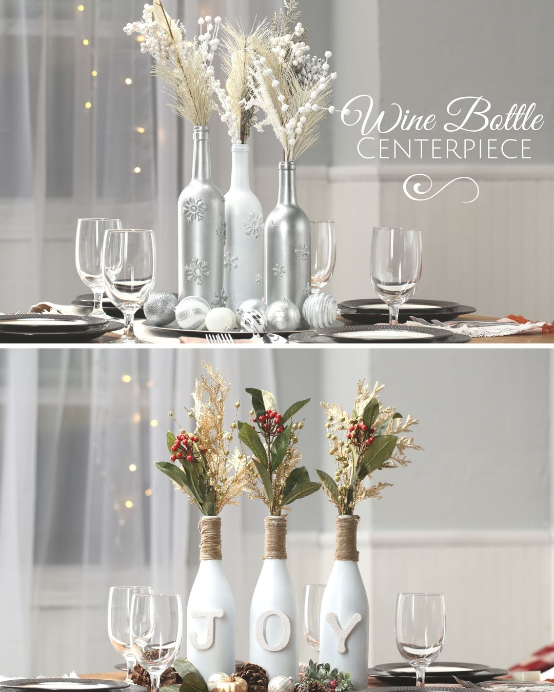 Wine bottle centerpiece nifty holidays parties for Christmas bottle decorations