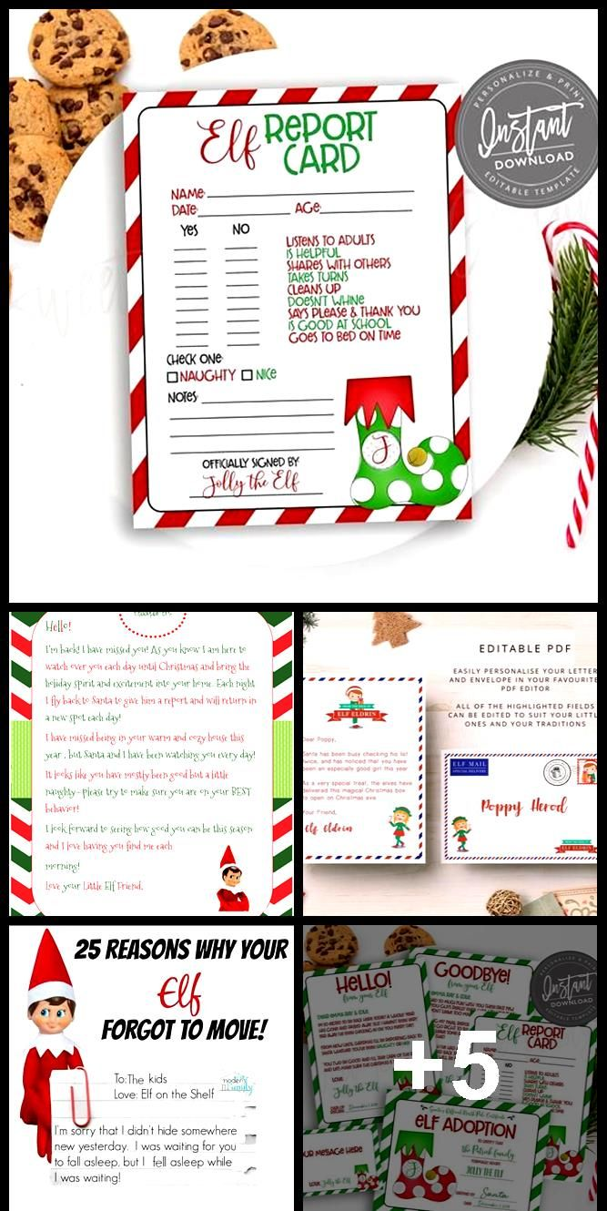 EDITABLE Elf Report Card, Notes from the Elf, Elf Letter