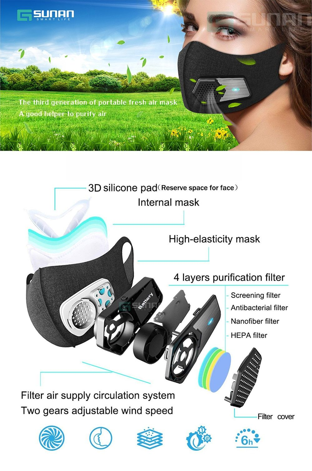 Sale Electric Anti Dust Mask,Black Safety Sports Training