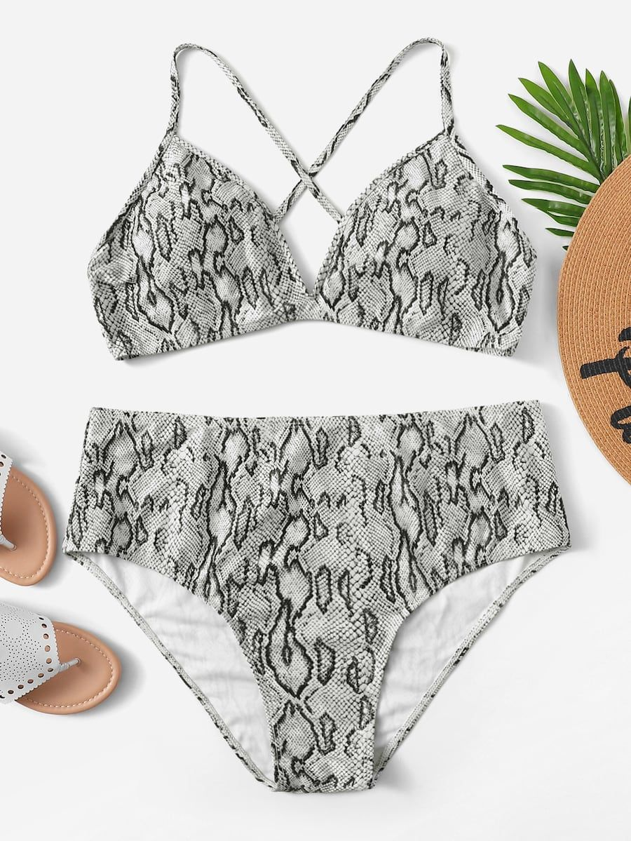 726a60724ff2b Plus Snakeskin Print Top With High Waist Bikini -SHEIN(SHEINSIDE ...