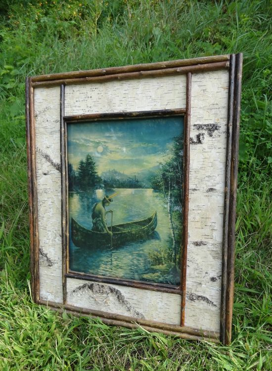 rustic picture frame, white birch frame, wall art | 多材 | Pinterest ...
