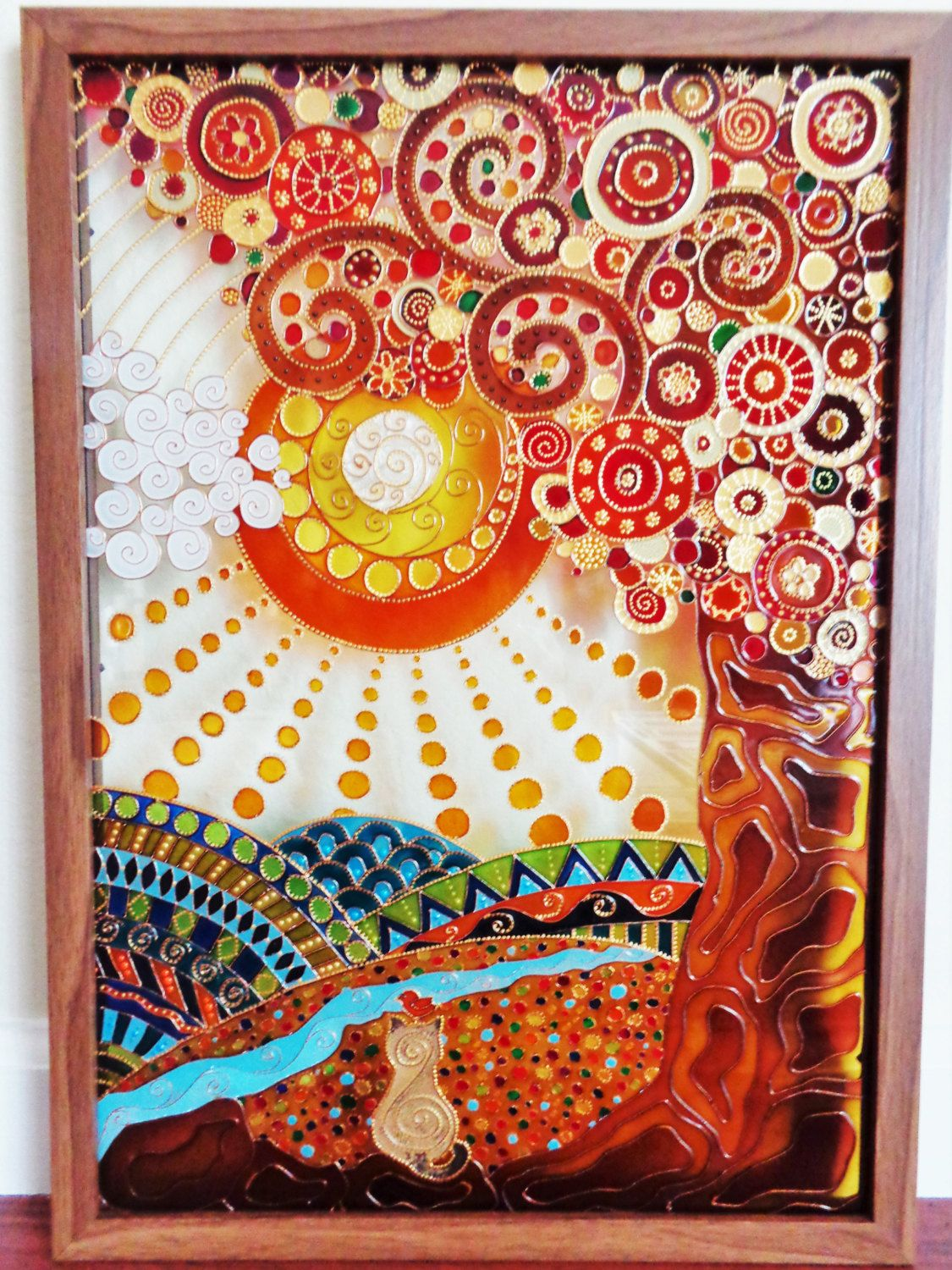 Tree Of Life 15 X21 Glass Painting Glass Pannel Wall Decor Bohemian Decor Original Art Etsy Modern Art Abstract Landscape Glass Painting Designs Stained Glass Art Glass Painting