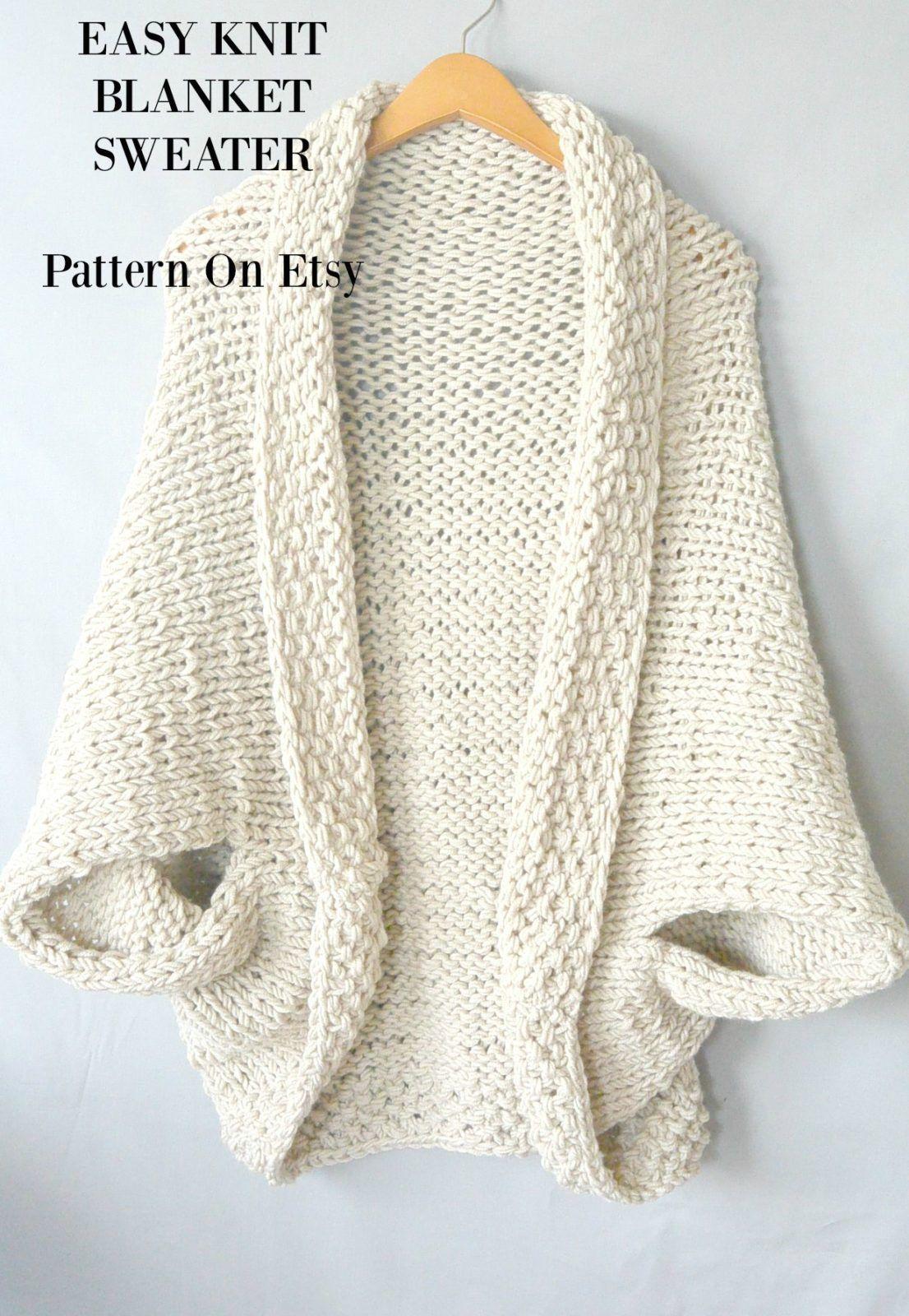 etsy-easy-knit-blanket-sweater-lb-5 | Knitting, Yarn, Crochet ...