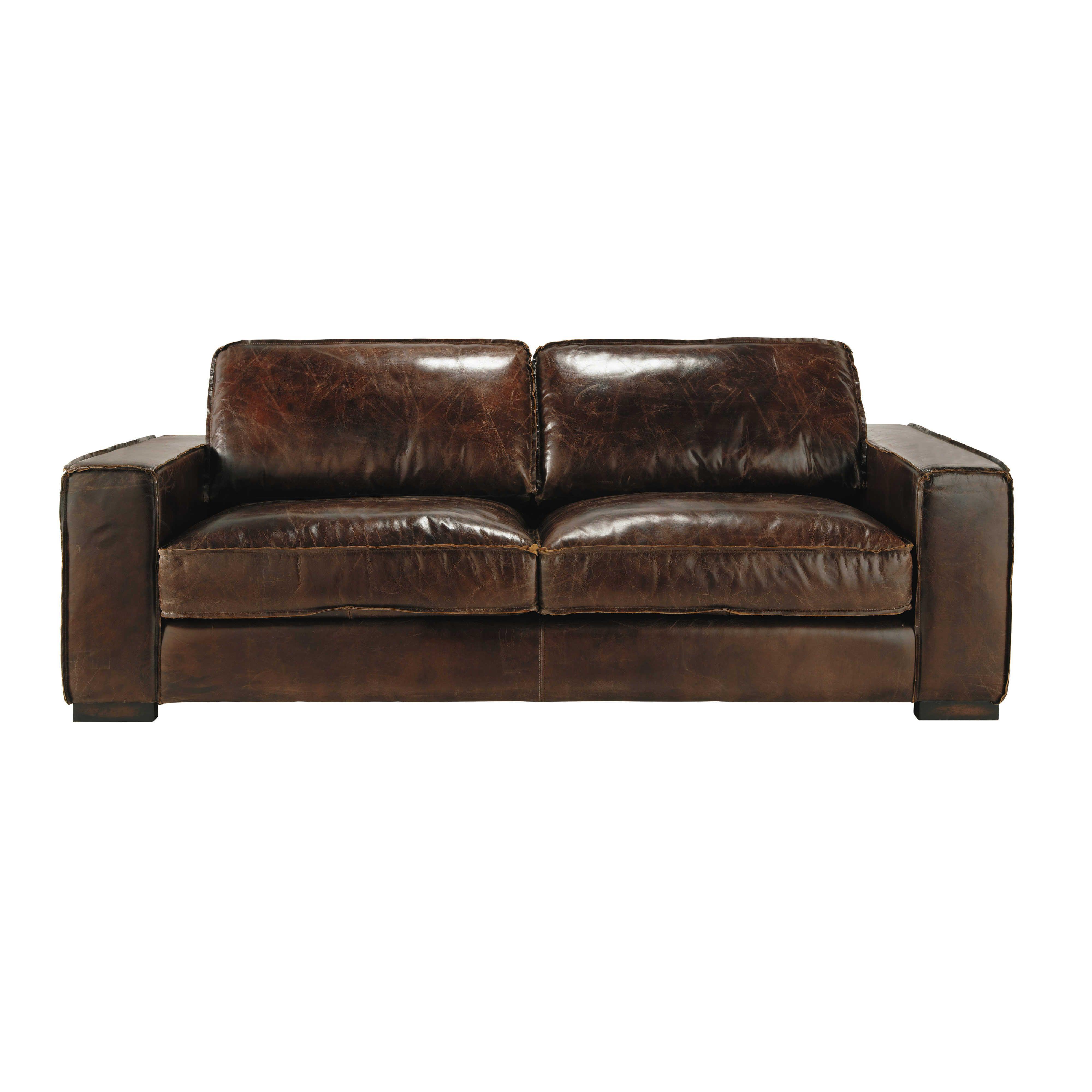 Sofá vintage de 3 plazas de cuero marr³n