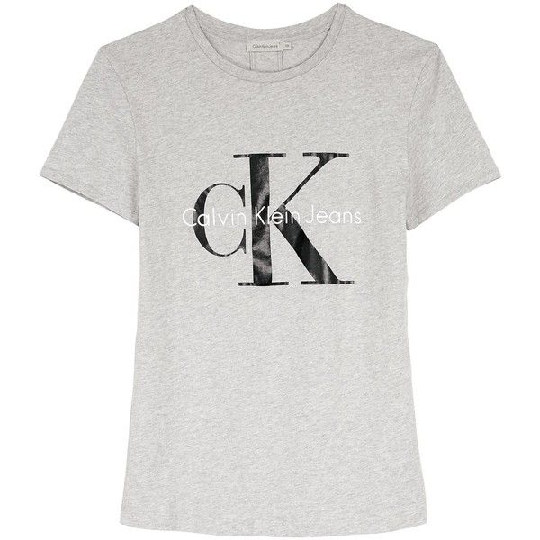 Calvin Klein Ck Jeans Logo T-Shirt ( 58) ❤ liked on Polyvore featuring tops,  t-shirts, white tees, white logo t shirts, ripped tee, short sleeve t shirt  ... 277fc174353b