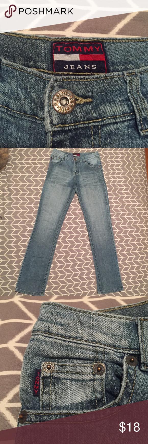 """• VINTAGE TOMMY HILFIGER • distressed jeans Vintage """"Tommy"""" jeans. Size 28. Distressed straight leg. Excellent condition! 100% cotton! Tommy Hilfiger Jeans Straight Leg"""
