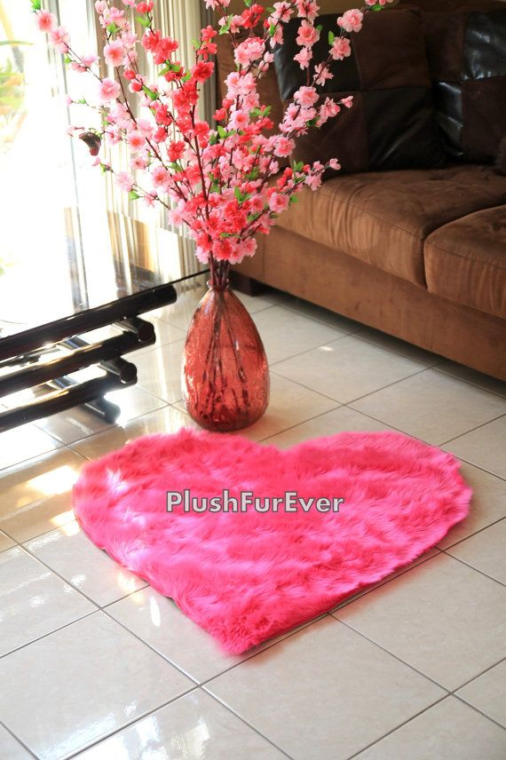 30 x 30 Hot Pink Heart Shape Faux Fur Rug by PlushFurever on Etsy ...