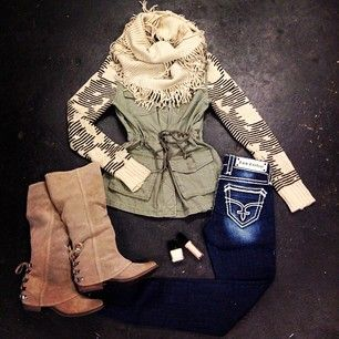 brown boots, winter sweater, fringe and embellished jeans !