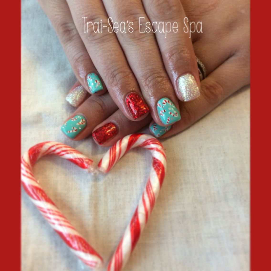 Hand Painted Christmas Nail Art: Candy Cane Nails Hand Painted By Trai-Sea's Escape Spa