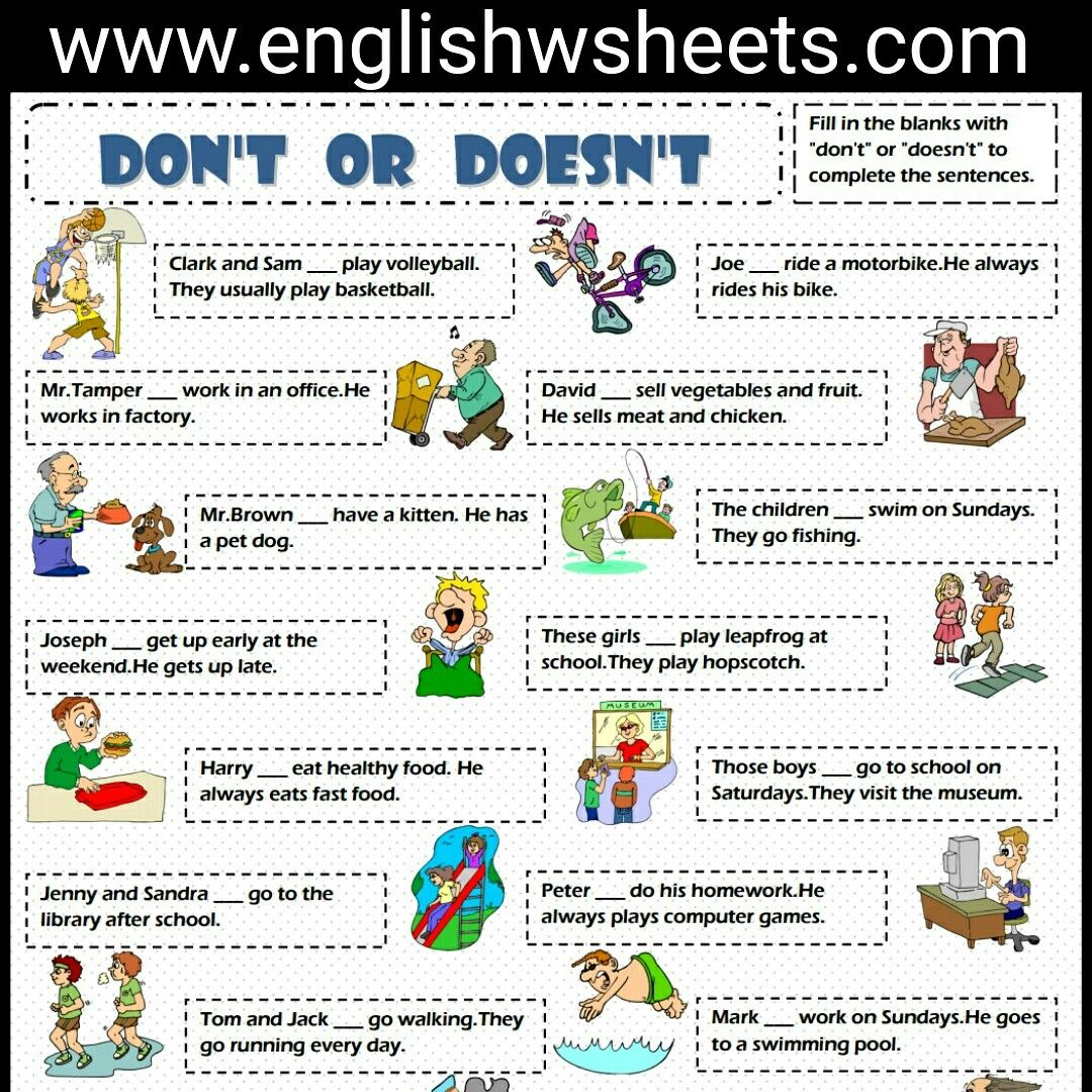 English Exercises Present Simpe: Don't Or Doesn't Esl Printable Grammar Exercise Worksheet