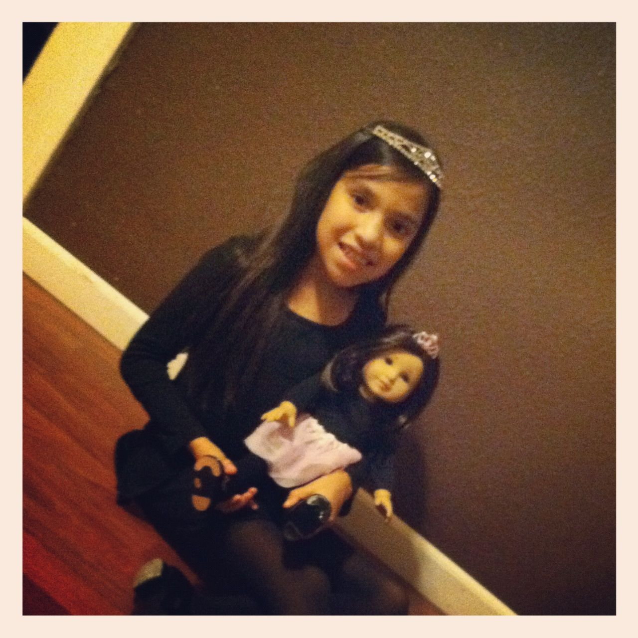 Her doll and her ready for tap..