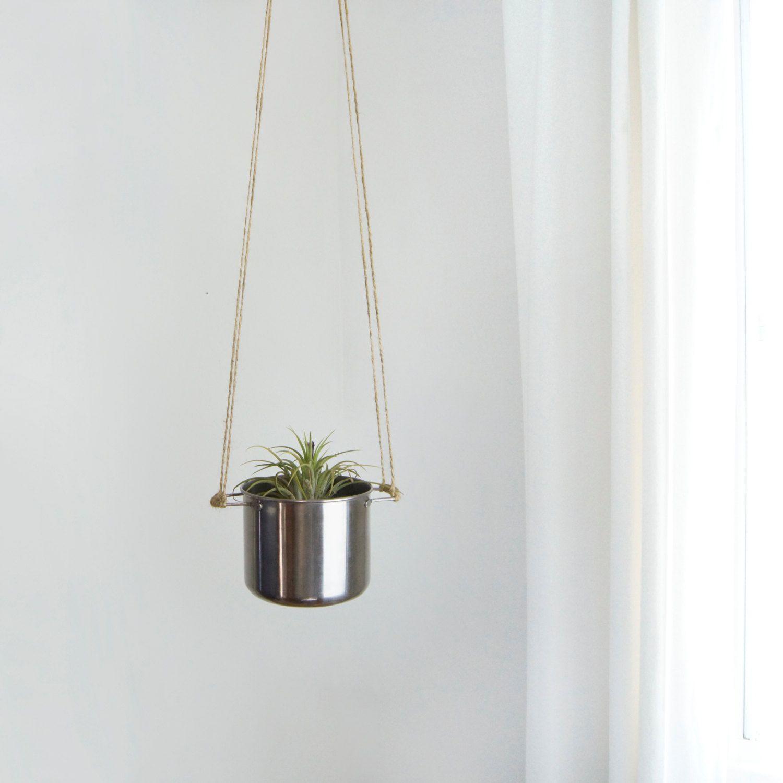 Items Similar To Stainless Hanging Planter Vintage Metallic Silver Pot