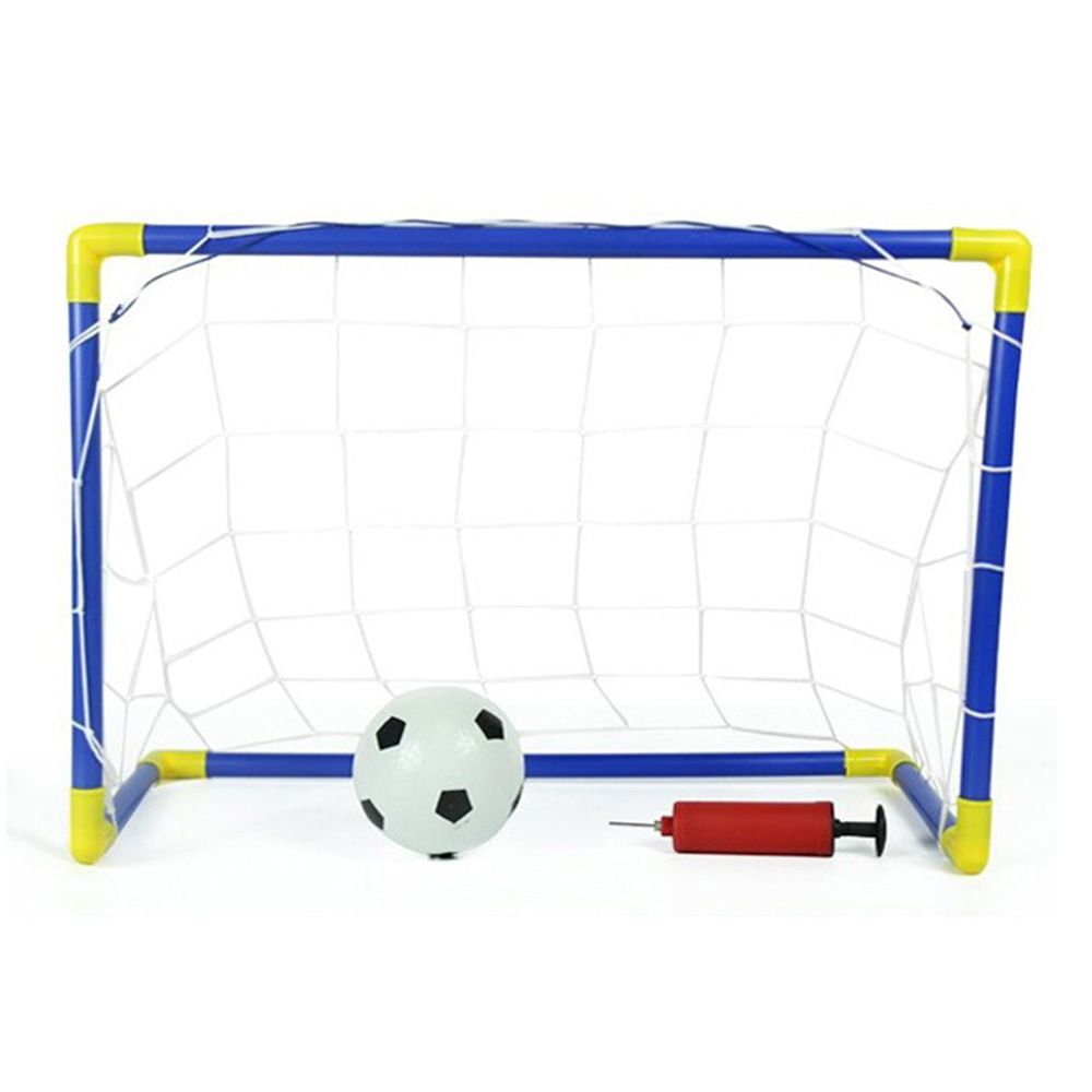 Mini Football Goal Post Net Set Soccer With Pump Blue And Yellow Portable Soccer Goals Soccer Goal Kids Soccer Goal