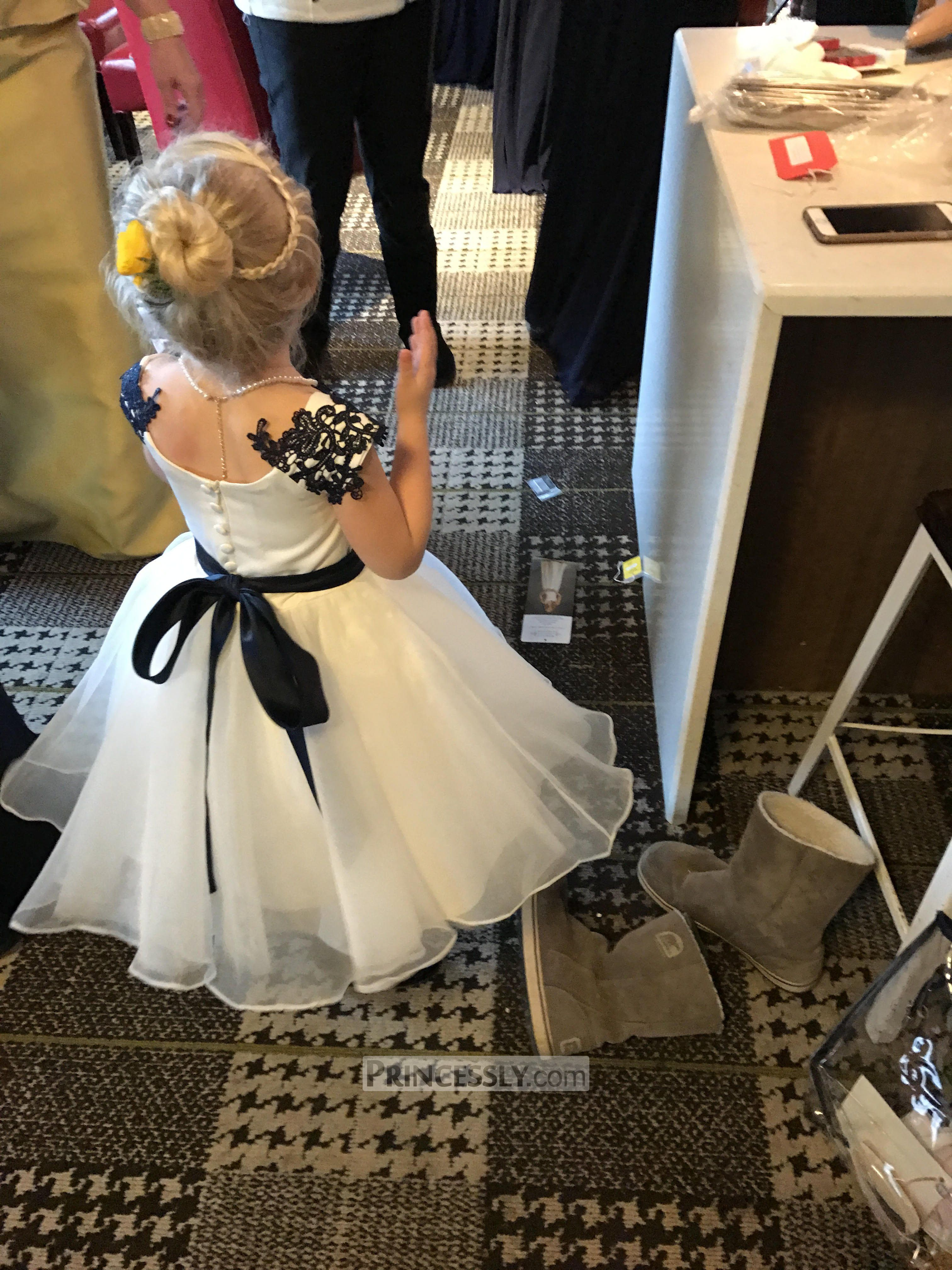 Navy Blue Lace Ivory Satin Organza Flower Girl Dress With Navy Sash