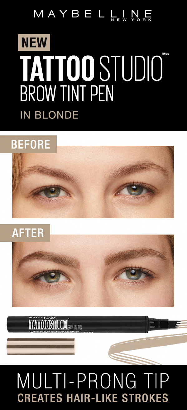 adf7131a0fb Maybelline TattooStudio Brow Tint Pens lets you create natural hair-like  strokes with ease. Here's a before and after of the Soft Brown shade of the  Brow ...